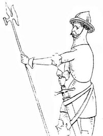 Рисунок барельефа жандарма с алебардой