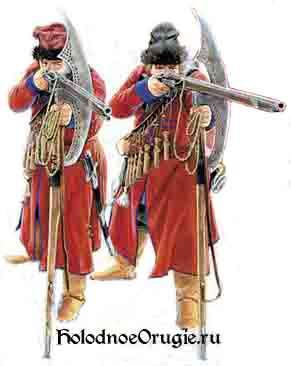 Стрельцы используют бердыш для упора при стрельбе